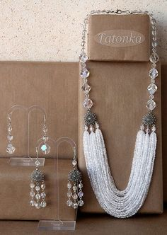 Size: necklace length from the edge: ~ 62 cm, the outer ~ 67 cm. Long earrings 6 cm with fastener. Seed Bead Jewelry, Statement Jewelry, Pearl Jewelry, Beaded Jewelry, Jewelery, Handmade Jewelry, Choker Jewelry, Seed Beads, Jewelry Sets