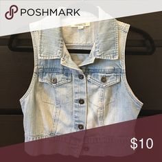 Forever 21 Denim Vest Cute vest for anyone who wants something more fitting and cropped. It's nice for petite girls and well. Love wearing with a body con dress or even long and crop tops! Forever 21 Jackets & Coats Vests