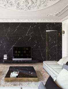 Removable wallpaper idea. Dark accent wall with fireplace. Penthouse in Shenzhen Bay by Alvin Grassi