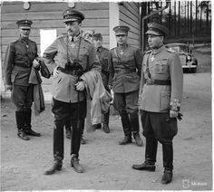 Operation Barbarossa, the invasion of the Soviet Union in June 1941, involved Germany as well as her allies: Italy, Romania, Hungary, Slovakia, Croatia, and Finland. Finland was eager to recapture the lands taken by the Soviet Union's unprovoked assault in the 1939-1940 Winter War. Here, leader of the Finnish armed forces Marshal CGE Mannerheim discusses strategy with hero of the Winter War General Talvela, at the beginning of Finland's second war with the USSR during WWII, the Continuation…