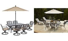 "Park Gate Outdoor Cast Aluminum 7-Pc. Dining Set (68"" x 38"" Dining Table and 6 Swivel Rockers)"