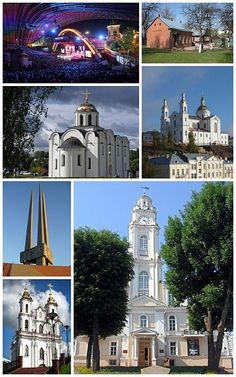 Vitebsk -Top left:View of International Art Festival of Slavyansky Bazaar in Mayakovsky Street, Top right:Marc Chagall Museum in Pakrouskaja, Middle left:Vitebsk Annunciation Church in Castle Street, Middle right:Vitebsk Assumption Cathedral, Bottom upper left:A monument of soldiers victim of Second World War at Vitebsk Victory Square, Bottom lower left:Church of Resurrection Christ, Bottom right:Vitebsk City Hall (Ratusha)