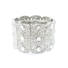 Vintage style silver tone pattern, with crystals elastic bangle. Love <3