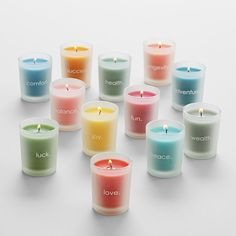 Year of wishes candle set -  A different candle for each month of the year, each imprinted with an inspirational word such as hope, love, and peace.