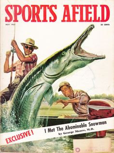 May 1957 cover of Sports Afield magazine. Cover illustration by Mort Kunstler. #vintage #magazine #fishing