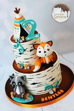 Birthday Party Cake Ideas for Boys – Woodland Cake Tutorial Baby Cakes, Baby Shower Cakes, Baby Girl Shower Themes, Baby Boy Shower, Fox Cake, Fox Party, Woodland Cake, Woodland Party, Baby Birthday