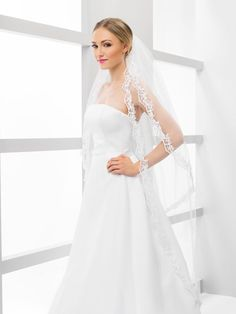2 Tier Delicate Lace Veil in white and ivory by MeshkaBridal