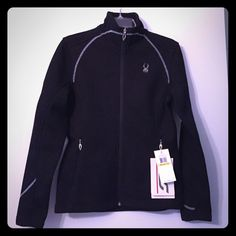 Brand New With Tags, Black Spyder Core Sweater Received as a gift and never worn. Fleece inside, sweater outside. Great detailing, zipper front and pockets. Spyder Jackets & Coats Utility Jackets