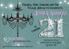 21st Birthday Invitation - Diamond Bling Numbers - Custom Designed -Teal, White, Black and Pink - Digital File