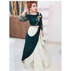 Indian Designer Green Taffeta Silk Off White Party Wear Lehenga choli C Indian Lehenga, Pakistani Bridal Lehenga, Lehenga Choli Wedding, Party Wear Lehenga, Party Wear Dresses, Dress Party, Silk Lehenga, Heavy Lehenga, Green Lehenga