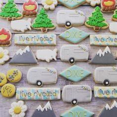 Flying Squirrel Cookies - Mountains and campers decorated cookies, love this set!