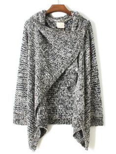 Grey Draped Neck Long Sleeve Loose Sweater Drape Cardigan 9150b944e