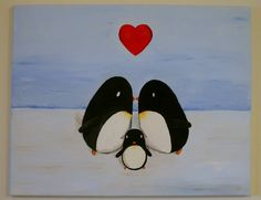 Modern Penguin Family Nursery Art 16x20 painting by WeekdayBest, $32.00