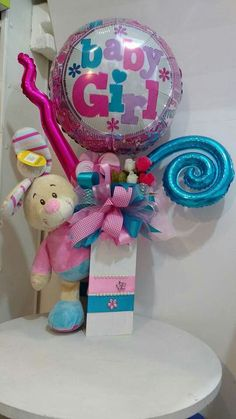 Add it's a girl candy and mini powder, lotion and such Balloon Box, Baby Balloon, Balloon Gift, Balloon Flowers, Balloon Bouquet, Baby Shower Balloons, Baby Bouquet, Balloons And More, Balloon Delivery