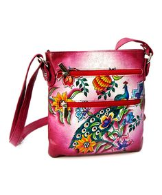 Pink Double Zip Hand-Painted Leather Crossbody Bag | zulily
