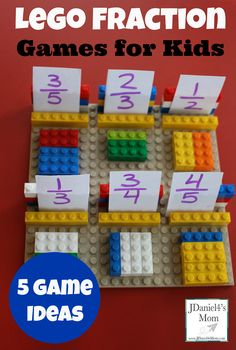 Lego Fraction Games for Kids Learning Activity (Five Game Ideas) #LEGO Fraction Games For Kids, Math For Kids, Fun Math, Fundamental 2, Lego Math, Kids Learning Activities, Fun Learning, Teaching Fractions, Math Fractions