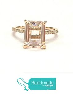 Emerald Cut Morganite Engagement Ring Pave Diamond Wedding 14K Rose Gold 8x10mm from the Lord of Gem Rings https://www.amazon.com/dp/B01GXYOGWO/ref=hnd_sw_r_pi_dp_T4dHxbVXM95MS #handmadeatamazon