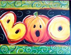 Painting in acrylic Halloween Canvas Paintings, Fall Canvas Painting, Halloween Painting, Autumn Painting, Autumn Art, Halloween Art, Painting For Kids, Diy Painting, Fall Paintings