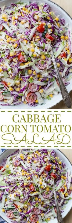 Cabbage Corn Cucumber and Tomato Salad
