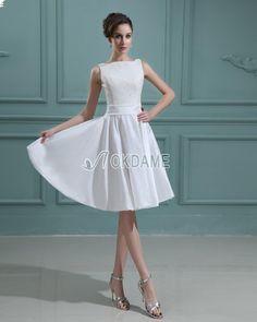 Natürliche Taile ärmellos Bateau Taft einfaches Brautkleid/ Abschlusskleid