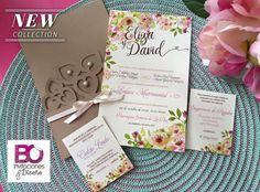 Invitación calada vintage floral
