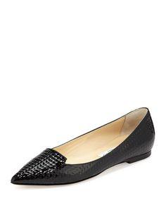 X2R3L Jimmy Choo Atilla Cubed Patent Loafer, Black