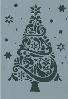 CHRISTMAS TREE & STARS MYLAR REUSEABLE STENCIL - A5 - IMAGE APPROX 18 x 11cm | eBay