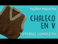 "Chaleco en ""V"" (subtitles available) Knitting Stitches, Baby Knitting, Knitting Patterns, Crochet Patterns, Crochet Coat, Crochet Baby, Crochet For Beginners, Ravelry, Videos"