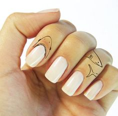 Ferocious Temporary Tattoos - The Shark Finger Tattoo Features JAWS Around Your Cuticles