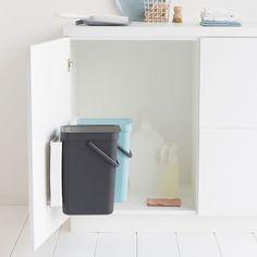 Built-in Bin Sort & Go, 2x12 litres - Mint / Grey - Sort & Go, Encastrable - Sort & Go - Poubelles et corbeilles à papier | Brabantia