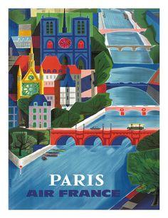 Air France: Paris - La Seine, c.1953 Giclee