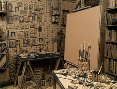 """Full Stop"" by Tom Burckhardt. Artist's studio recreated in cardboard and india ink."