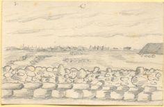 Bleistiftzeichnung ohne Datierung: im Vordergrund befindet sich eine Steinmauer, den Hintergrund ziert eine Landschaft. [Fortsetzung von Faszikelnr. 23 und 24]. Bestand 192-31, Nr. 25.