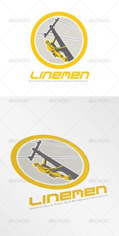 Linemen Electricians Power Logo ...  Linemen Electricians Power, artwork, climbing, construction, electrician, electricity, graphics, illustration, logo, pole, post, power cable, power lineman, repairing, repairman, retro, telephone repairman, worker