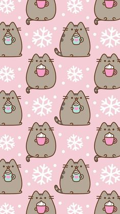 Pusheen the cat iPhone wallpaper background winter snow lattes