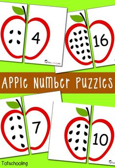 Free Apple Number Puzzles for preschoolers to practice counting and one to one correspondence with a fun Apple theme. Great for back to school or Fall.