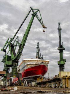 Gdansk shipyard by Kasia Bobrzak Gilles, Nautical Art, Heavy Equipment, Cgi, Scale Models, Crane, Heavy Metal, Poland, Transportation