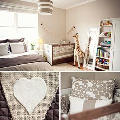 A modern nursery painted in shades of linen and tan