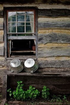 log-house window... great galvanized tubs too!!