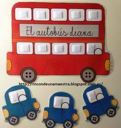 Rincón de una maestra: El autobús decena Más Preschool Kindergarten, Teaching Math, English Classroom Decor, Kinder Mat, Maths Area, Dora, Primary Maths, Autism Classroom, Children With Autism