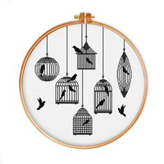 Bird Cages Silhoutte cross stitch pattern  Modern minimalist bird counted cross stitch chart  Easy beginner cross stitch pattern  Home decor