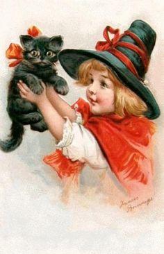 de ravissantes cartes vintage où petites sorcières et mignons chats noirs portent les vœux d'Halloween...