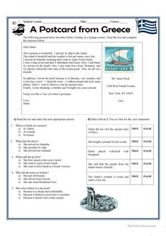A postcard letter from Greece worksheet - Free ESL printable worksheets made by teachers Handwriting Worksheets For Kindergarten, Letter Writing Worksheets, Printable Worksheets, Writing Workshop, Writing Skills, Writing Ideas, English For Beginners, English Beginner, Linking Words
