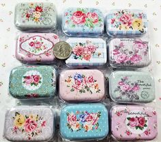 M-169; Sweet Tiny Tins to Hold All of Your Small Treasures. Assorted Floral Prints-We Will Choose One For You -Sold Individually <3 $1.99 Upcycled Crafts, Craft Items, Tins, Are You The One, Floral Prints, Creative, Sweet, Tin Cans, Candy