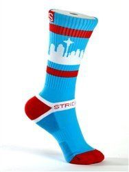 Strideline Socks / Sea Town / The Mario / Strapped Fit by Strideline. $17.99. Custom athletic crew featuring the Seattle skyline.. Advanced fabric design to keep feet comfortable and dry.. Brilliant colors.. One size fits most.. The New Crew by Strideline is a comfortable Skyline sock unlike any other.  The design is original and the colors are brilliant.  Strideline SeaTown Socks go beyond functional, and they are more than comfortable,  they make a statement.