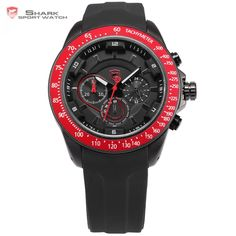 US $57.99 - Snapper Shark Sport Watch Stainless Steel 24 Hours Black Red Male Clock Analog Military Quartz Montre Homme Men watch / SH280