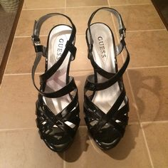 Guess Black Strappy Platform Sandal, size 8 Sexy super cute comfortable sandals. Only worn a few times. In perfect shape. Guess Shoes Sandals