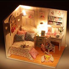 Ручной деревянные поделки кукольный домик миниатюре окно комнаты Funiture комплект с из светодиодов мебель девушки подарок купить на AliExpress