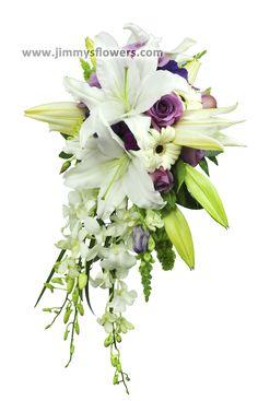 Wedding bouquet-Cascade style-white and purple flowers. Utah wedding flowers