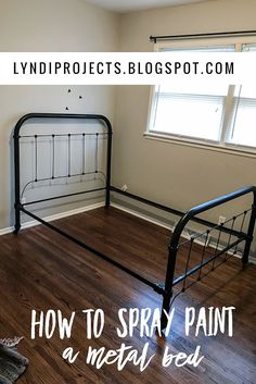 44 Super Ideas for bedroom furniture makeover bed frame guest rooms Painted Iron Beds, Painted Bed Frames, Ikea Bed Frames, Diy Bed Frame, Metal Bed Frames, Timber Frames, Hand Painted, Ikea Metal Bed, Metal Daybed